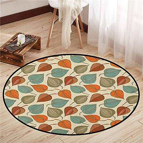Kids Rugs,Floral,Onion Flower Leaves Mother Nature in Autumn Art Nouveau Winter Cherry Rural Pattern,Sofa Coffee Table Mat,4'7