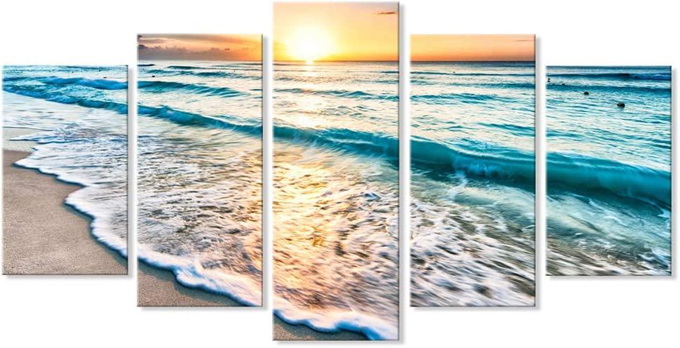 5 Pieces Sea Sunset Modern Wall Art Set Seascape Beach Canvas Print Large Horizontal Landscape Wall Picture Multi Panel Ocean Split Giclee Print for Living Room Dining Room Wall Decor