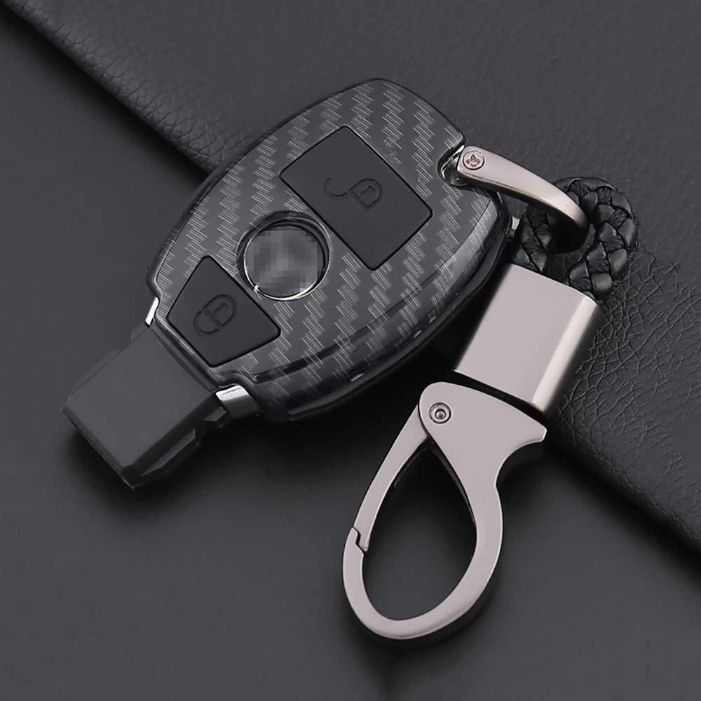 ontto for Mercedes Benz Key Fob Case Carbon Fiber Texture Premium Silicone Case Full Protection Smart Key Fob Shell Keychain for Mercedes-Benz C E S M CLS CLK GLK GL Class Black