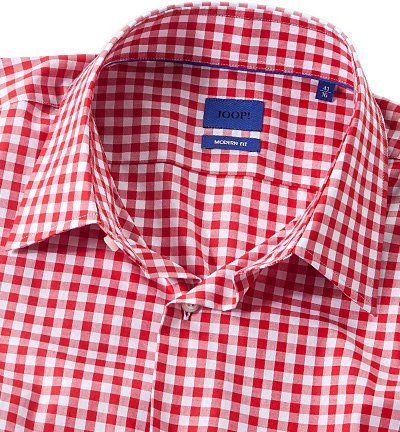 JOOP! Herren Hemd Baumwolle Oberhemd Kariert, Größe: 40, Farbe: Rot