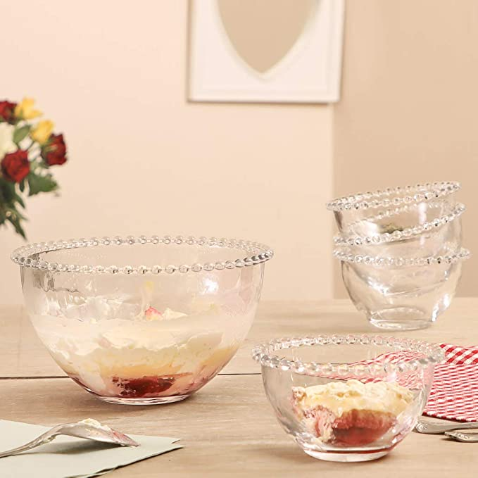 4 Beaded Glass Breakfast Dessert Bowls Large Serving Bowl Amazon Co Uk Kitchen Home