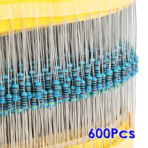 TOOGOO(R) 600pz 30 tipi Valore 1% 0.25W 1 / 4W Selezione Mix resistore a film metallico (1 ~ 1M ohm)