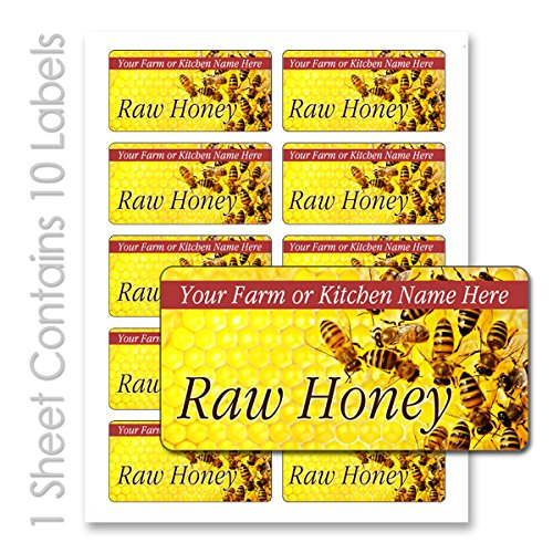 Raw Honey Farm Kitchen Personalized Name Mason Jar Rectangle Labels (Label-12, 200 Labels on 20 Sheets)