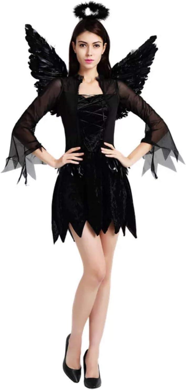 thematys® Disfraz de ángel Negro para Mujer Cosplay, Carnaval y ...