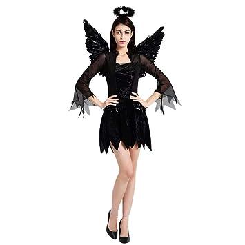 thematys® Disfraz de ángel Negro para Mujer Cosplay ...