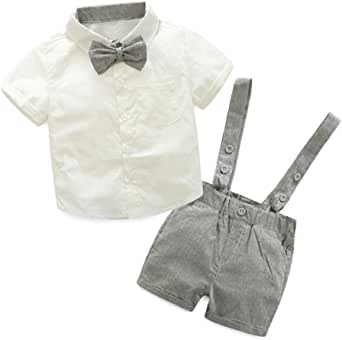 PAOLIAN Conjuntos para Unisex bebé niñas Verano 2018 Camisas + Pichi Pantalones Cortos + Corbata Manga Corta Boda Trajes y Blazers Bebe niñas de 6 ...