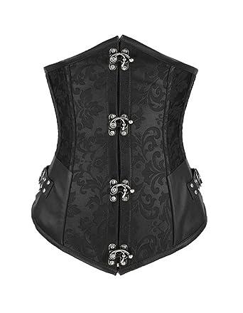 eb293ff829 Burvogue Women s Steampunk Underbust Corset Waist Cincher Gothic  Bustier(black ...