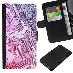 Sony Xperia Z4 / Sony Xperia Z4V / E6508 , la tarjeta de Crédito Slots PU Funda de cuero Monedero caso cubierta de piel ( Computer Chip Art Code Technology Silver)