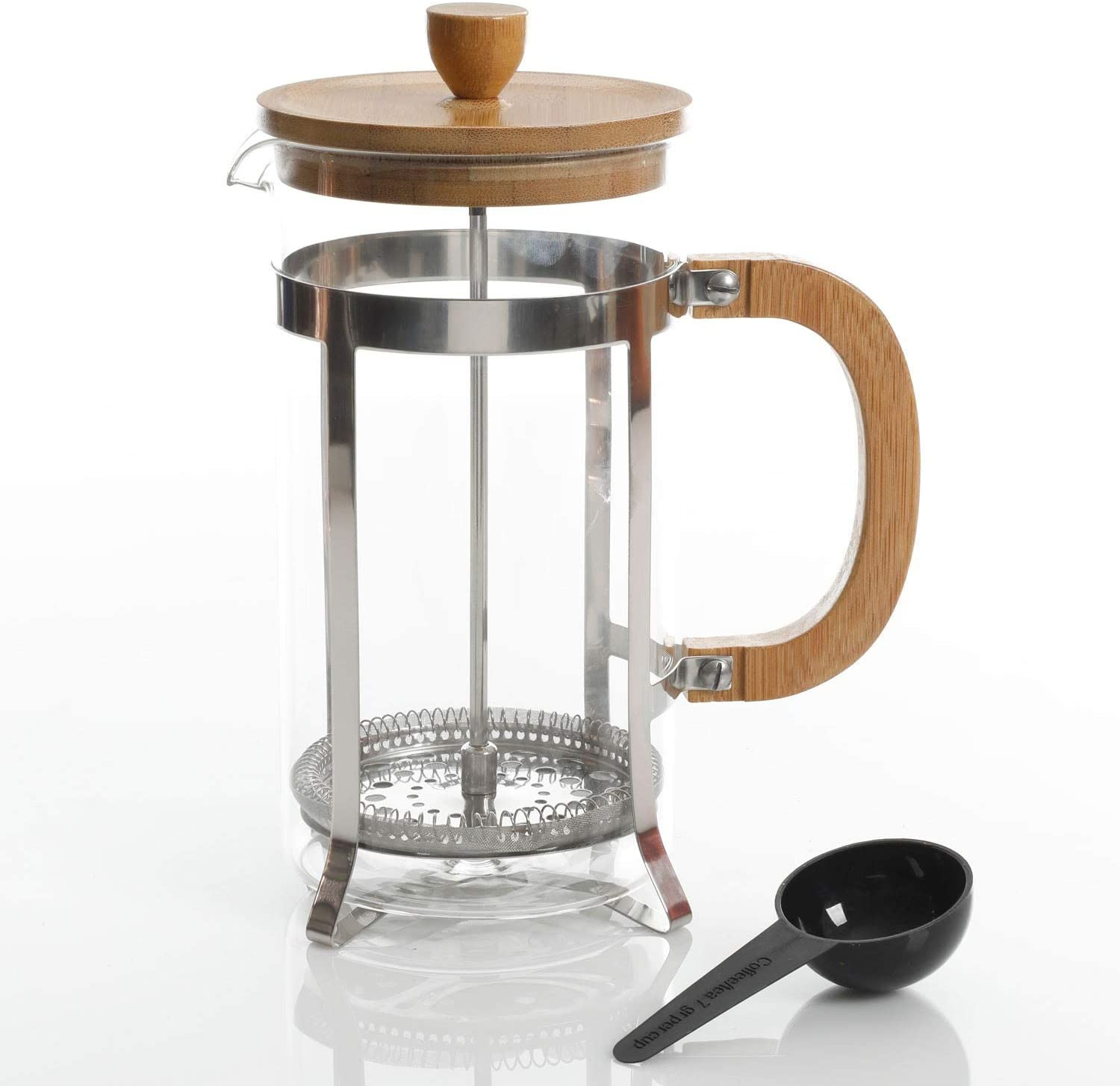 Gibson Home Bamboo Cafe 33 Ounce Glass Coffee French Press with Scoop
