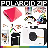 Polaroid ZIP Mobile Printer Gift Bundle + ZINK Paper (30 Sheets) + Snap Themed Scrapbook + Pouch + 6 Edged Scissors + 100 Sticker Border Frames + Color Gel Pens + Hanging Frames + Accessories