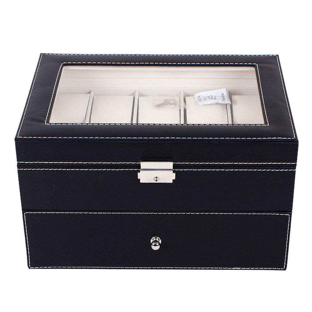 LEADZM 20 Slot High-grade Leather Watch Collection Storage Box, Double Layer Organizer Case