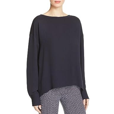 d8d42efc64a5ff Theory Women Clothing black Silk Blouse 100 Silk LUHYFLC Source · Amazon  com Theory Navy Womens Small Long Sleeve Blouse Silk Blue S