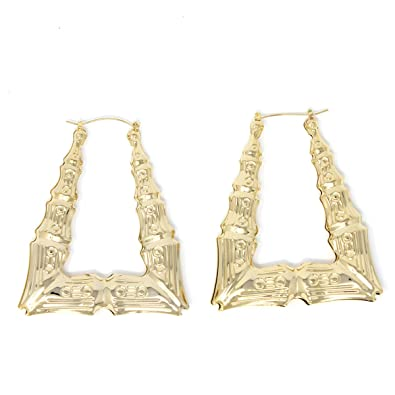 4401107e60ee2 GemGem Jewelry Triangle Hollow Casting Bamboo Pincatch Earrings (2.5  Inches, Gold Tone)