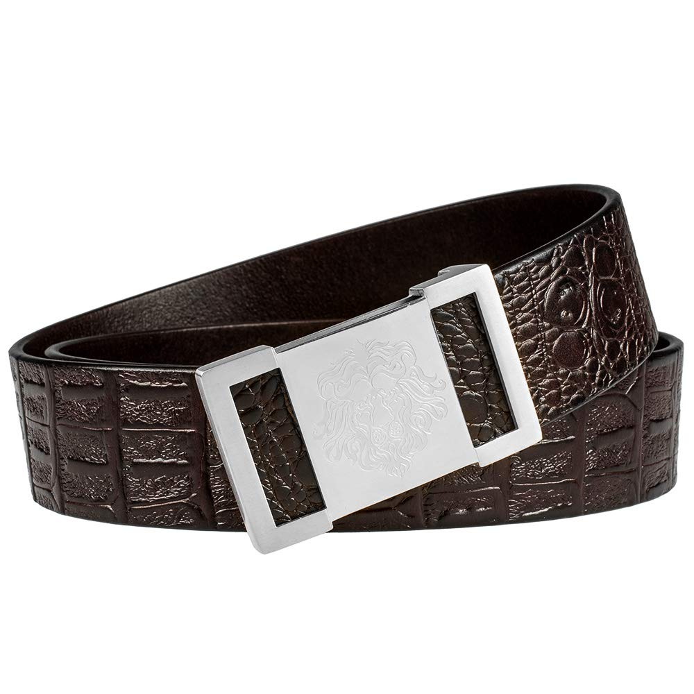 Martino Brown Genuine Leather Belt 37 , Silver Lion + Brown Belt Soil Stainless Steel Buckle Simple and Unparalleled Designer Belt pants 35