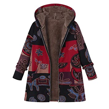 20eef910659f Damen Vintage Mäntel,Felicove Winter Warm Outwear Floral Print Hooded  Taschen Oversize Mantel Frauen mit