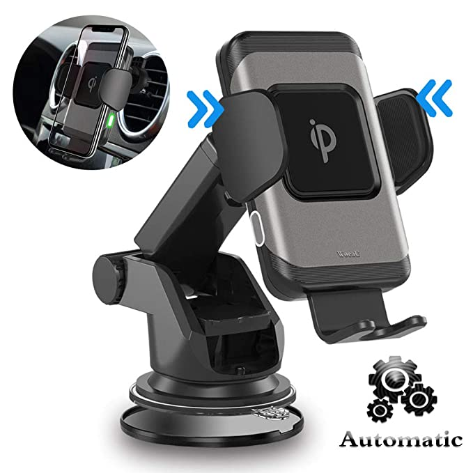 Woeau Wireless Car Charger Mount,Automatic Clamping QI Fast 10W 7.5W & 5W Charging,Windshield Dashboard And Air Vent Phone Holder,Compatible iPhone ...