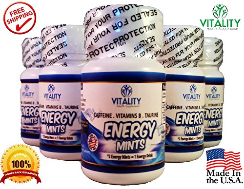 Vitality Energy Mints – Better Than Energy Drinks! Best Caffeinated Tablets Contain 50Mg Caffeine Energy Boost with 0 Calories and 0 Sugar – Contains B Vitamins and Taurine (6 Bottles of 30 Mints Ea.)