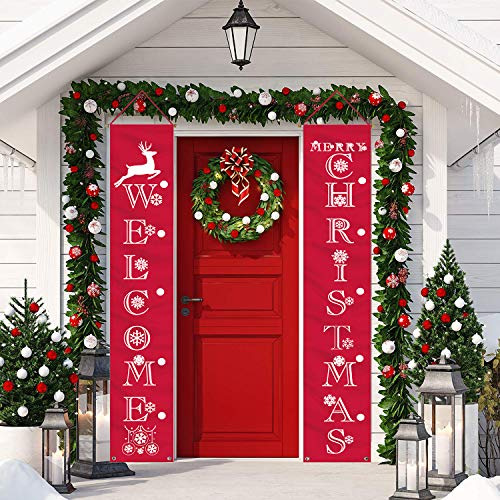 LUCKKYY Christmas Banner Decoration Outdoor Indoor Christmas Decorations weclome Merry Christmas Bright Porch Sign Red Xmas Decor Banner Christmas Door Banner Merry Christmas Outdoor Sign (Red)