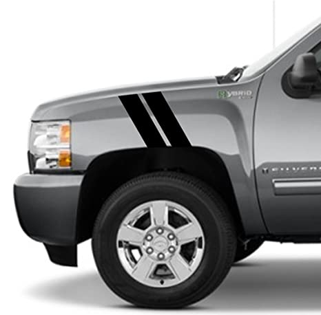Amazon Com Pickup Truck Fender Hash Mark Double Bars Racing Stripes