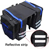 Bike Bag Under Seat for Men, 1 Pcs Waterproof Mountain Bicycle Rear Rack Pannier 8 Side Reflectors Motorcycle Saddlebags for Cycling, Travelling