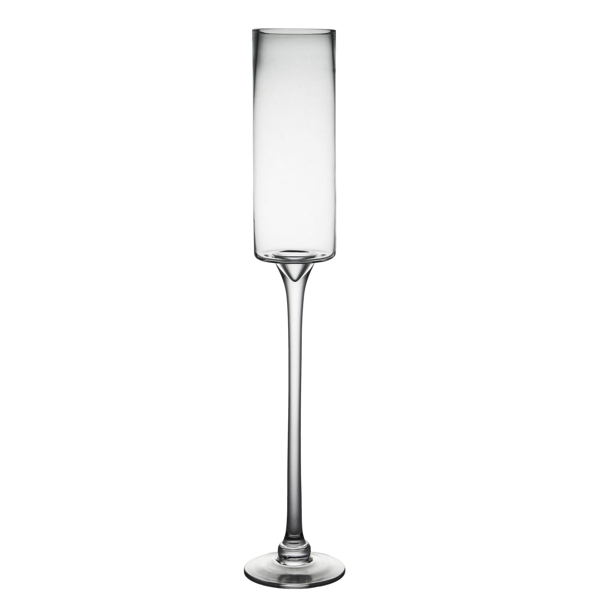 CYS EXCEL Long Stem Candle Holder, Open D:3.5'' H:24'', Clear