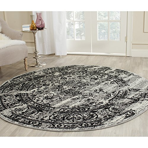 Black Transitional Round Rug - Safavieh Adirondack Collection ADR101A Silver and Black Oriental Vintage Distressed Round Area Rug (8' Diameter)
