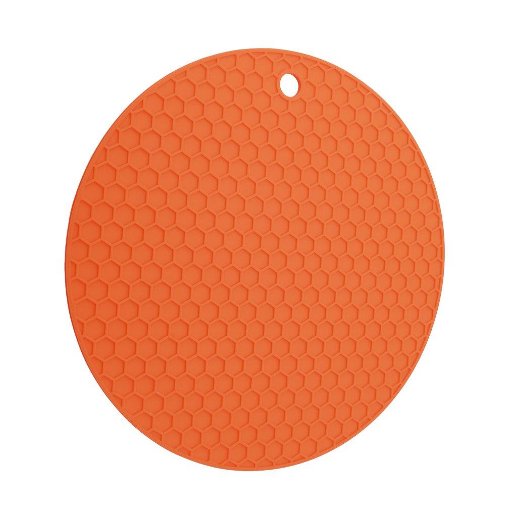Meolin Silicone Insulation Non-slip Mat Hot Pad Round Honeycomb Orange