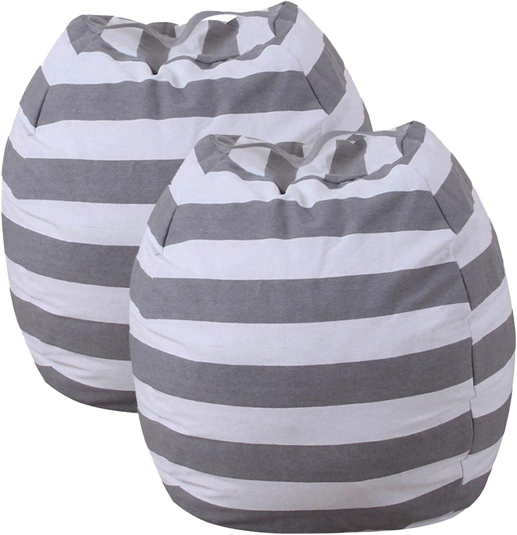 24 Beanbag Cover for Organizing Kids Room for Kids Room Toy DIY Bean Bag Chair Covers Only Grey 2 Pack Stuffed Animal Bean Bag Storage Chair