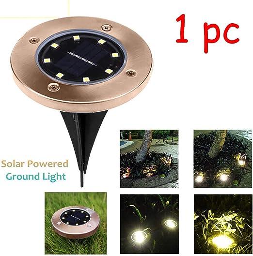 🍁 Tefamore 8 LED Luz Solar Jardín de Tierra Balizas Solares Exterior Jardin Decorativa Luz Blanca: Amazon.es: Iluminación