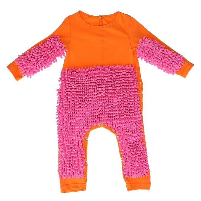 6d1ea45e1770 Amazon.com  Chinatera Newborn Baby Boys Girls Mop Crawling Clothes ...