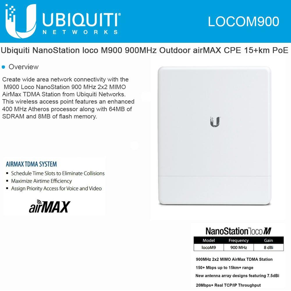 Ubiquiti locoM9 NanoStation loco M900 900MHz Indoor Outdoor airMAX CPE 10+km PoE by Ubiquiti Networks