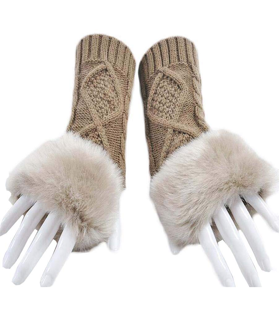Women Winter Knitted Wool Gloves Faux Fur Hair Cuff Fingerless PC Texting Mittens (White)