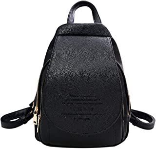 FCGV Backpack Leisure Travel Bag Pu Leather Simple Design For Dating Shopping Work-Black
