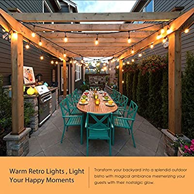 EAGWELL Outdoor String Lights, 48Ft Weatherproof String Lights with Hanging Sockets UL Listed 15 LED Edison Vintage Bulbs Connectable Decorative Lights for Bistro Patio Porch Garden Party