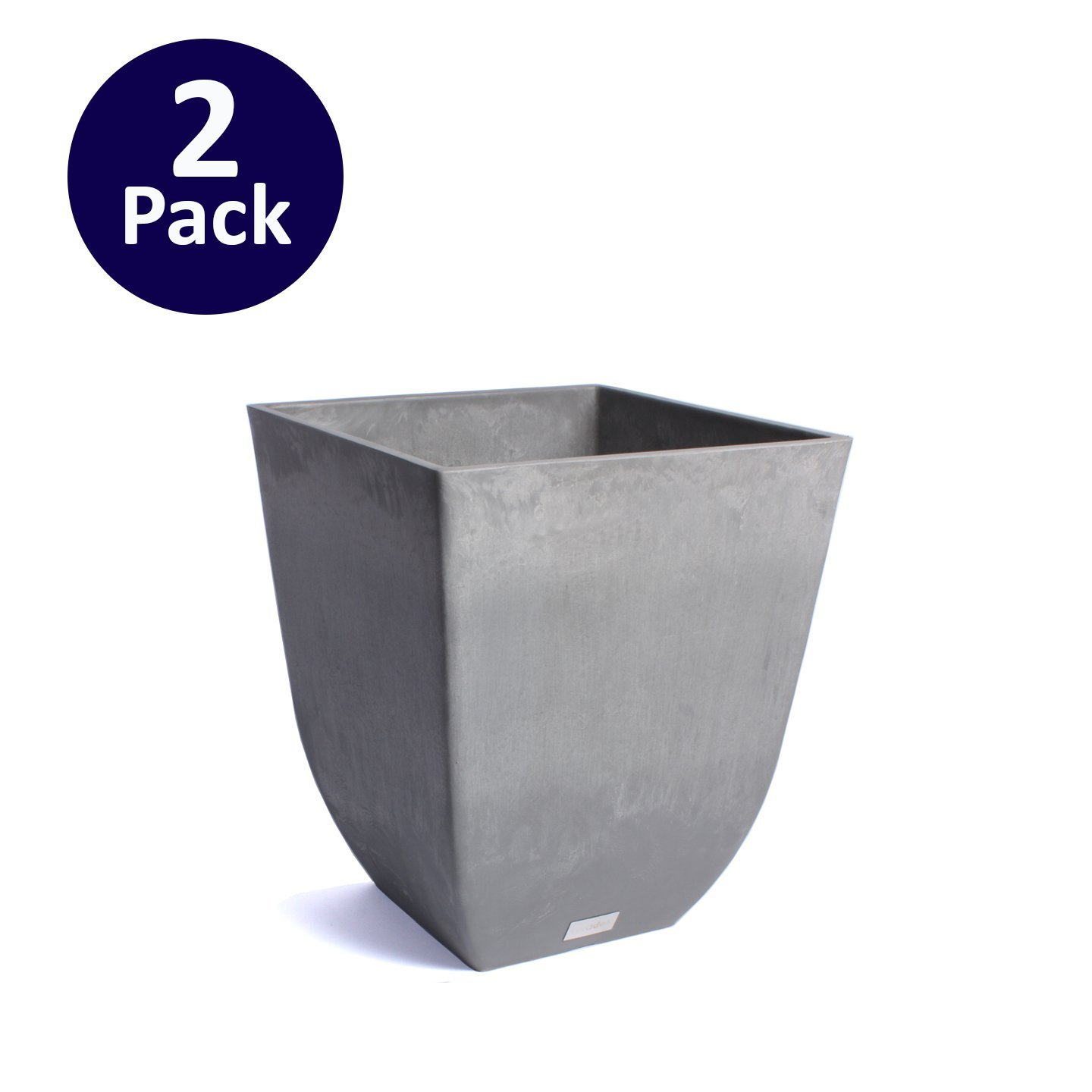 Veradek Sierra Square Planter - 2 Pack (Charcoal) by Veradek