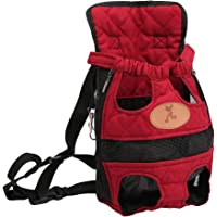 Dabixx Pet Carrier, Cane da Compagnia Zaino Carrier Puppy Cani Sacchetto Anteriore Borsa Back Pack Travel Legs out - Rosso - L