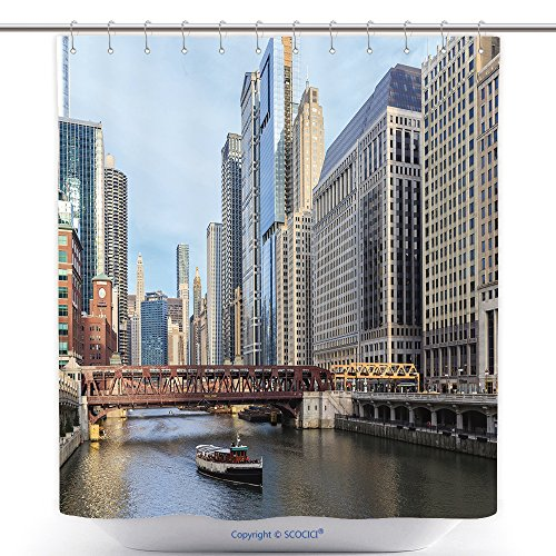 vanfan-Cool Shower Curtains The Chicago River Serves As The Main Link Between The Great Lakes And The Mississippi Valley Polyester Bathroom Shower Curtain Set With Hooks(70 x 78 - Mississippi Stores Outlet