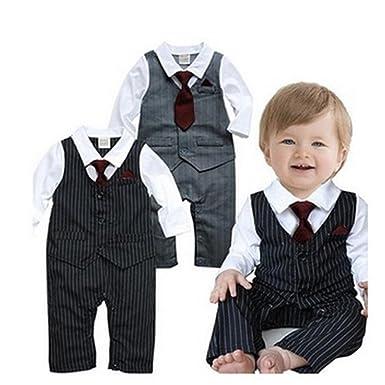 3b8eb8f47 Amazon.com  Baby Boy Pinstriped Formal Party Wedding Tuxedo Suit ...