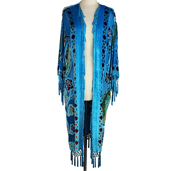 History of 1920s Coats, Furs and Capes Aris A Hand-Beaded Silk Velvet Burnout Kimono $102.00 AT vintagedancer.com