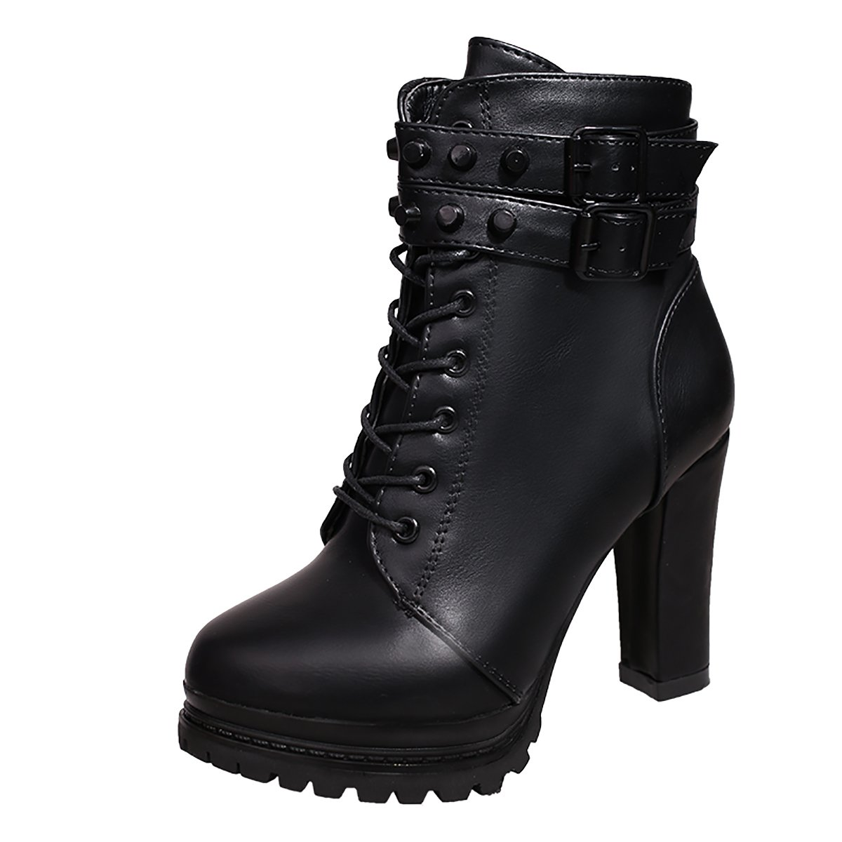 Inornever Women\u0027s Chunky High Heel Ankle Booties Fashion Buckle Platform PU  Military Combat Boots
