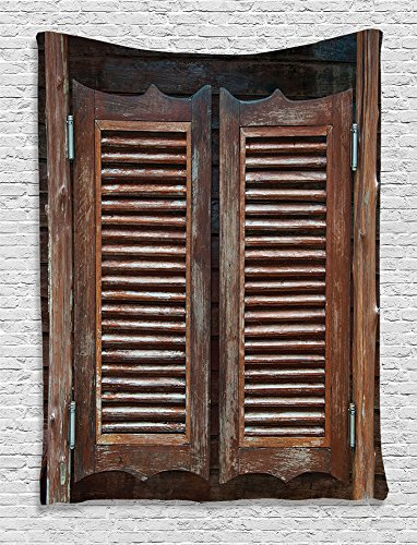 (Ambesonne Western Decor Collection, Rustic Wild West Swinging Wooden Cowboy Bar Saloon Door Image, Bedroom Living Kids Girls Boys Room Dorm Accessories Wall Hanging Tapestry, Brown Peru)