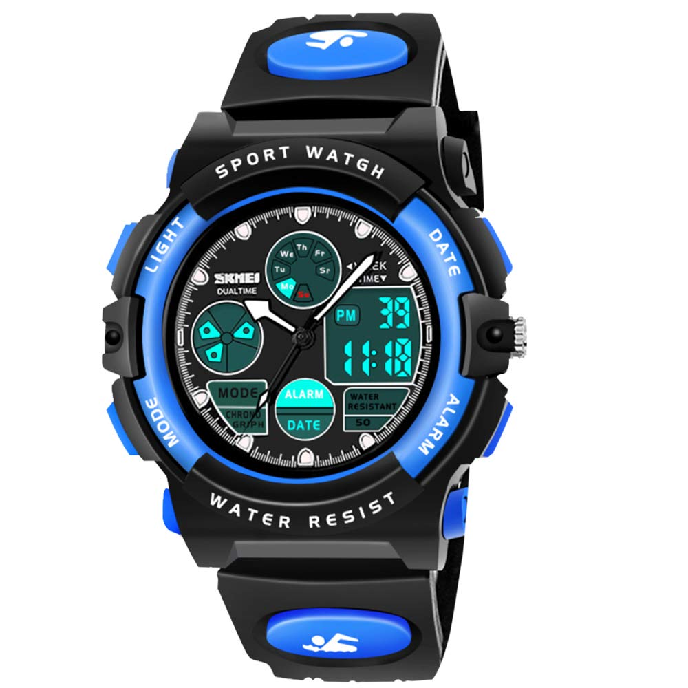 My-My Outdoor Toys for 5-12 Year Old Boys, LED 50M Waterproof Digital Sport Watches for Kids Birthday Presents Gifts for 5-12 Year Old Boys Toys Age 5-12 ZHBlue MMUSPW01 by Dreamingbox