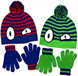 Boy's Monster Eyes Knit Beanie & Gloves Set in Red & Blue and Green & Blue (Blue & Green)