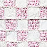 Baby rag quilt pink and white I love Mommy and Daddy