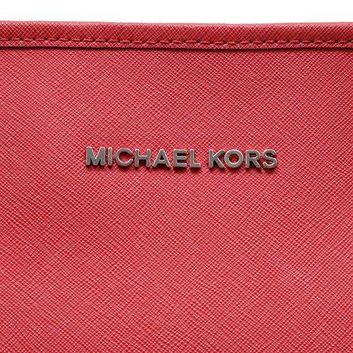 Michael Kors Jet Set Travel Medium Top Zip Multifunction Tote, Bolso Totes para Mujer, 30x15x39 cm (W x H x L) Bright Red