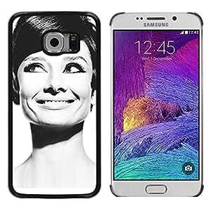 TopCaseStore / la caja del caucho duro de la cubierta de protección de la piel - Audrey Actress Black White Classic Portrait - Samsung Galaxy S6 EDGE SM-G925