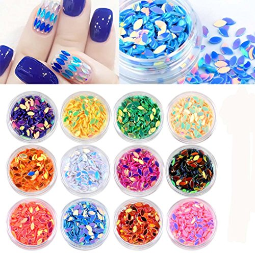 jinjiu 12 Boxs Mini Horse Eye Shape Flat Oval Sequins Women DIY Nail Decoration Phone Glitter Accessories