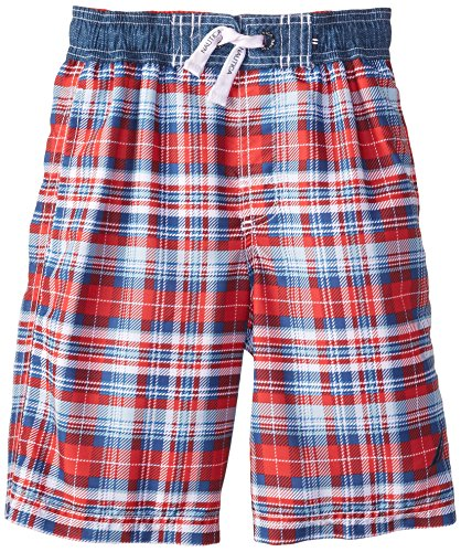 Nautica Big Boys' Classic Plaid Swim Trunk, Rouge, Medium