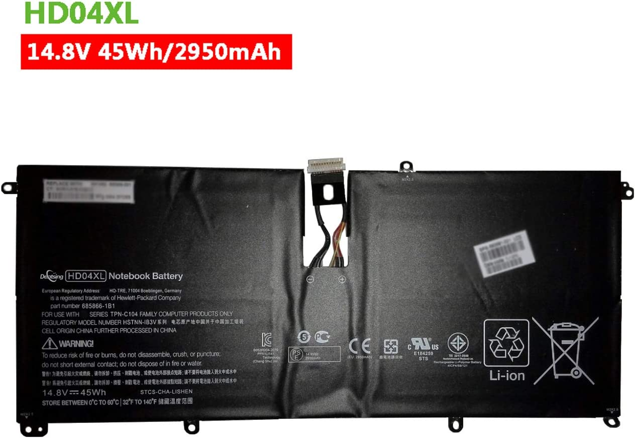 Dentsing HD04XL (14.8V 45Wh/2950mAh) Laptop Battery Compatible with HP Envy Spectre XT 13-2000eg 13-2021tu 13-2120tu Series Notebook TPN-C104 HSTNN-IB3V 685989-001 685866-1b1 685866-1b