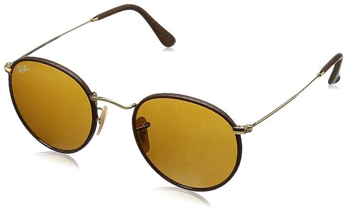 37d50710e3 Ray-Ban Men 's Craft anteojos de sol redondas, piel café, 50mm ...